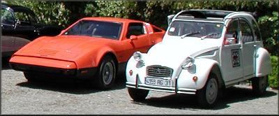 Jonathan's 2CV, beside a Bricklin SV, Hillsborough, CA