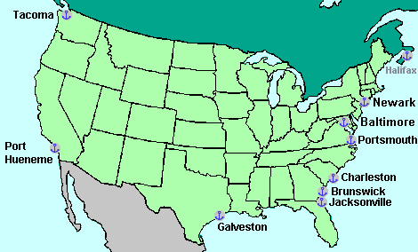 USA/Canada map with ports of entry