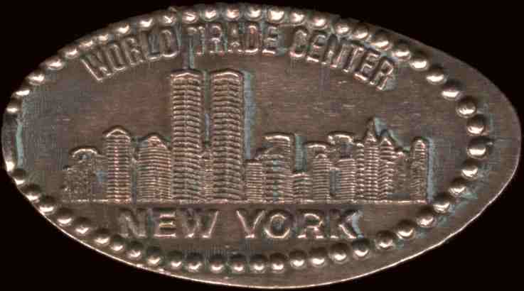 Copper medal made from a cents coin in a souvenir stamping machine at the top of the World Trade Center